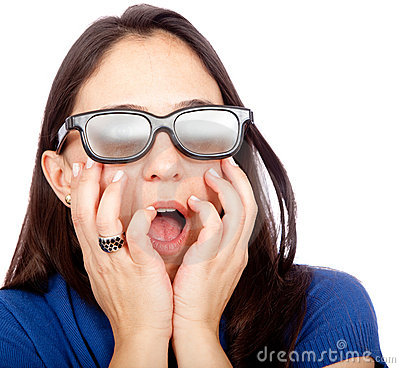 Woman with 3D glasses