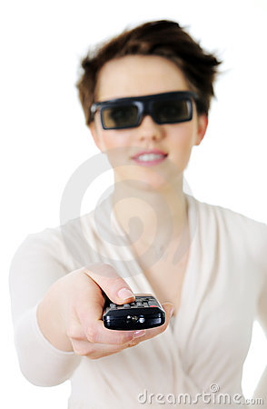 Woman in 3d glasses