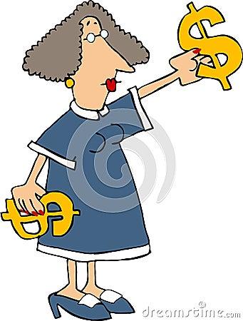 Woman with $$ Cartoon Illustration