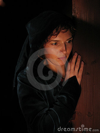 Free Woman A Dark Background Painted With Light. Stock Photography - 89632