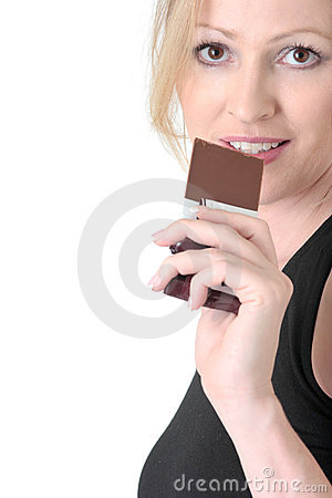 Free Woman About To Eat A Chocolate Bar Stock Images - 480354