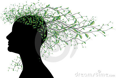 Woman abstract head silhouette with tree leaves