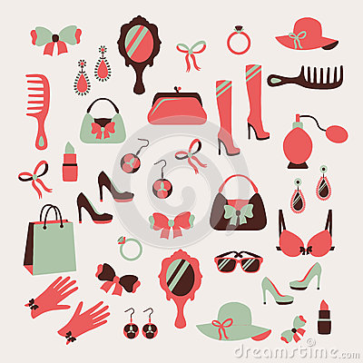 Free Woman Accessories Icons Set Royalty Free Stock Photos - 37434548