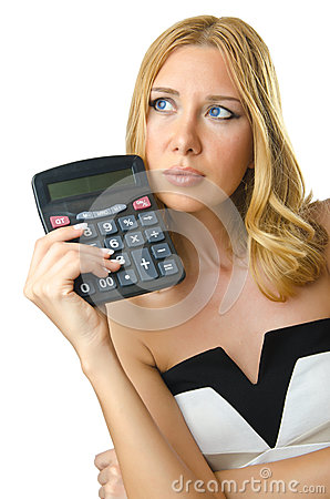 Woman accountant with calculator
