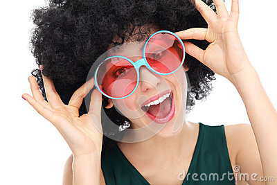 Woman with afro and glasses