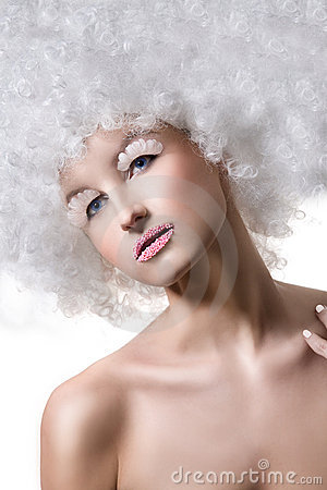 Woman in afro wig