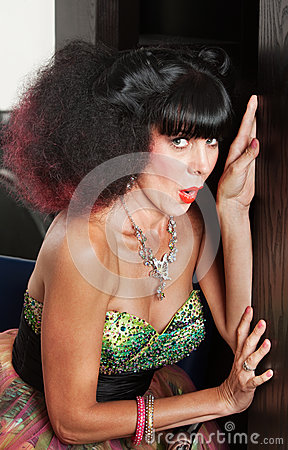 Woman in Afro Wig Hiding