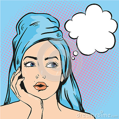 Free Woman After A Shower Thinking About Something. Vector Illustration In Pop Art Comic Style Stock Images - 79198324
