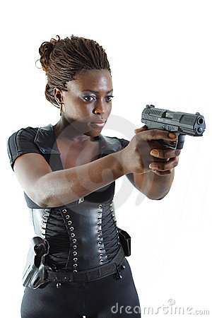 Free Woman Aiming A Gun Stock Photo - 4267370