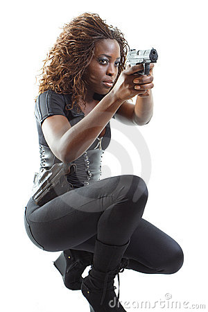 Free Woman Aiming A Gun Royalty Free Stock Image - 4267636