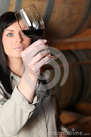Woman analyzing wine