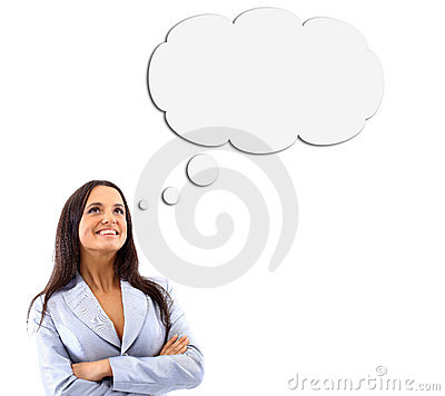 Free Woman And Blank Thought Bubbles Stock Photos - 19653783