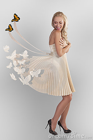 Free Woman And Butterflys Royalty Free Stock Photos - 22076378