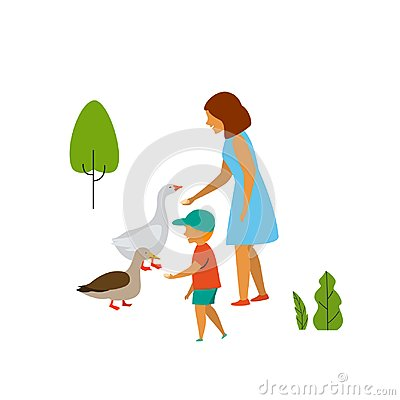 Free Woman And Child Feeding Birds In The Park Royalty Free Stock Photography - 123552497