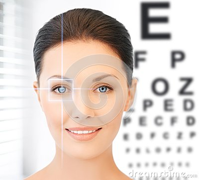 Free Woman And Eye Chart Royalty Free Stock Photos - 37777168