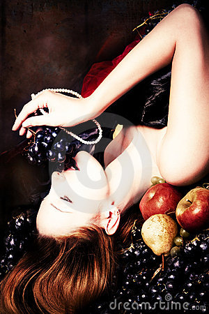 Free Woman And Grape Stock Photography - 22064772