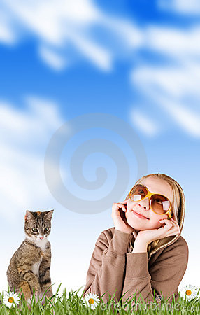 Free Woman And Her Cat In Grass On A Meadow Stock Photography - 7630922