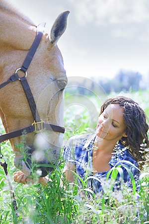 Free Woman And Horse Together Royalty Free Stock Photo - 82276605