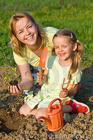 Free Woman And Little Girl Planting Tomato Seedlings Royalty Free Stock Images - 14166149