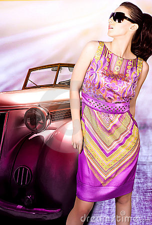 Free Woman And Old Car Royalty Free Stock Image - 14066276