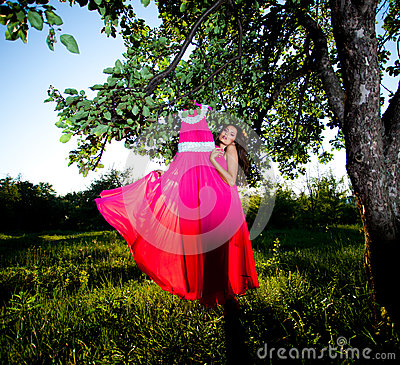 Free Woman And Pink Dress Royalty Free Stock Photo - 25008055
