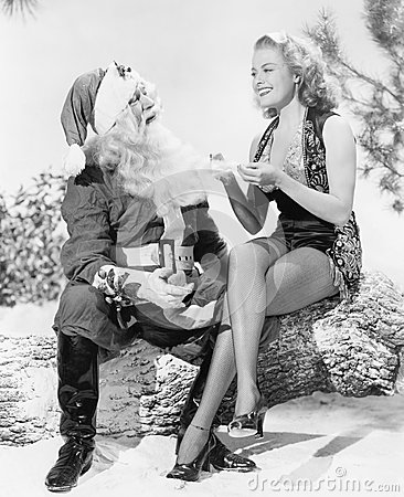 Free Woman And Santa Claus Sitting Together Laughing Stock Images - 52021814