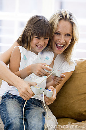 Free Woman And Young Girl In Living Room Royalty Free Stock Images - 5930819