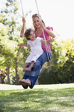 Free Woman And Young Girl Outdoors On Tree Swing Stock Images - 5935184