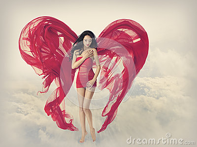 Woman Angel Wings as Heart Shape of Fabric Cloth, Fashion Model in Red Dress, Flying Girl Stock Photo