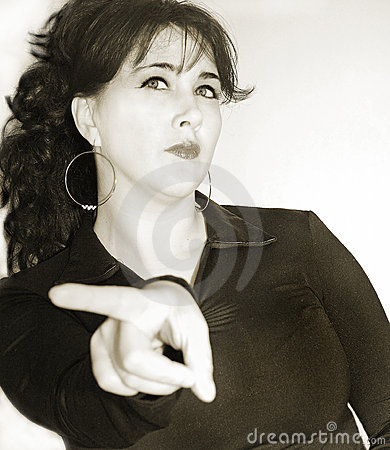 Woman with angry facial expression