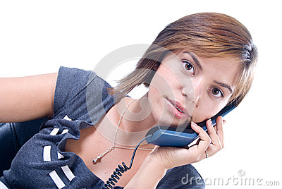 Woman answers the phone