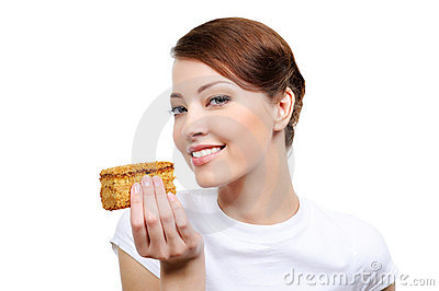Woman with appetizing cake