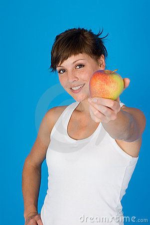Woman with a apple