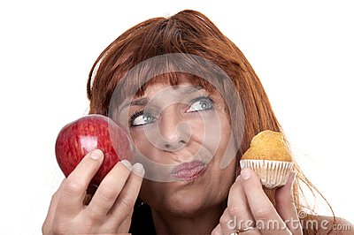 Woman with apple muffin