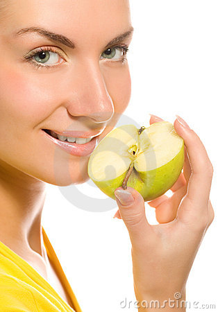 Woman with apple slice