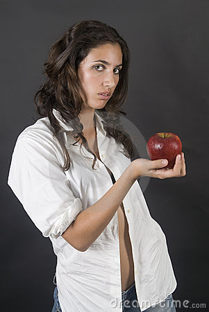 Woman with apple in a temptation