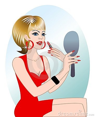 Woman applying makeup, vector file