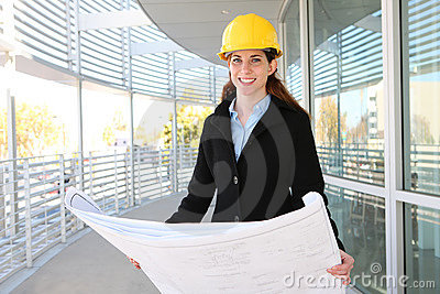 Woman Architect  with blueprints