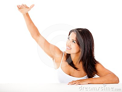 Woman with arm extended