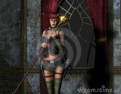 Woman armed with a magic wand