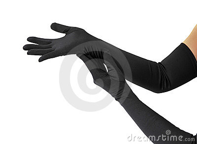 Woman arms with long gloves
