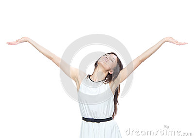 Woman with arms open feeling freedom and happines
