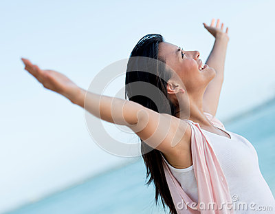 Woman with arms open