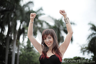 Woman with arms up