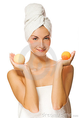 Woman with aroma bath ball