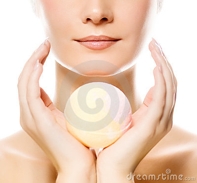Woman with aroma soap