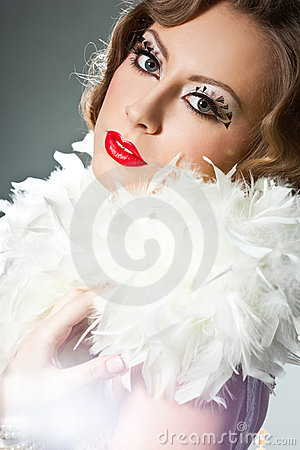 Woman with art visage - burlesque