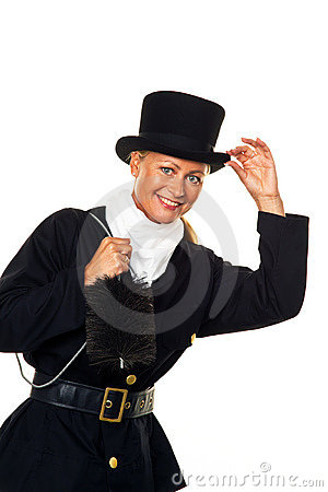 Woman as a chimney sweep