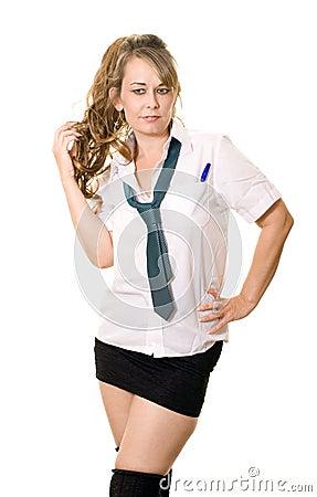 Woman as a schoolgirl