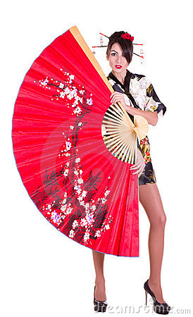 Woman In Asian Costume With Red Asian Fan Stock Photography - Image: 23204522